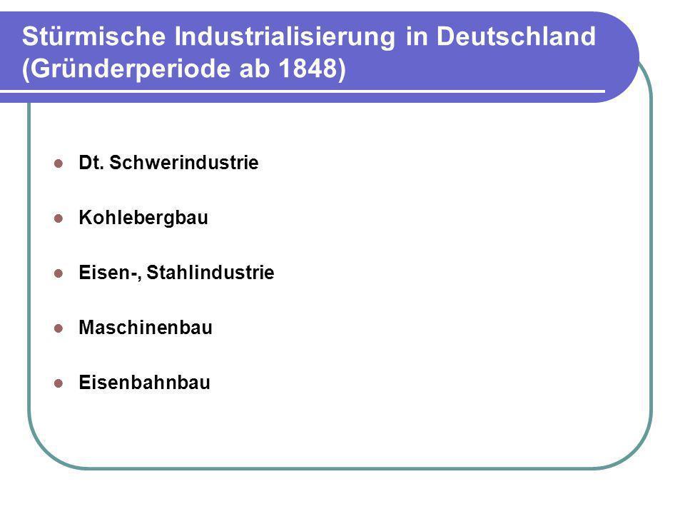 Stürmische Industrialisierung in Deutschland (Gründerperiode ab 1848) Dt. Schwerindustrie Kohlebergbau Eisen-, Stahlindustrie Maschinenbau Eisenbahnba