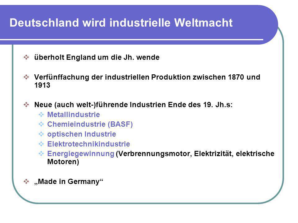 Deutschland wird industrielle Weltmacht überholt England um die Jh. wende Verfünffachung der industriellen Produktion zwischen 1870 und 1913 Neue (auc