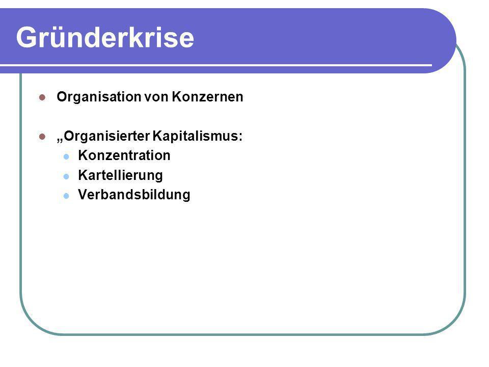 Gründerkrise Organisation von Konzernen Organisierter Kapitalismus: Konzentration Kartellierung Verbandsbildung