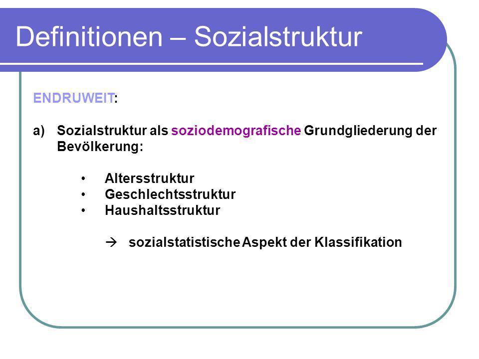 Definitionen – Sozialstruktur ENDRUWEIT: a)Sozialstruktur als soziodemografische Grundgliederung der Bevölkerung: Altersstruktur Geschlechtsstruktur H