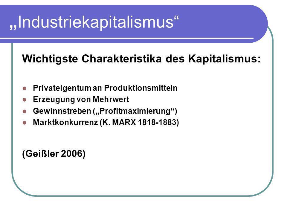Industriekapitalismus Wichtigste Charakteristika des Kapitalismus: Privateigentum an Produktionsmitteln Erzeugung von Mehrwert Gewinnstreben (Profitma