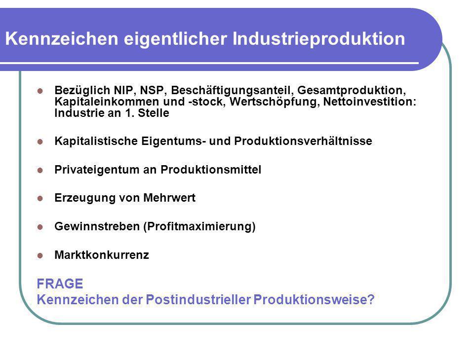 Kennzeichen eigentlicher Industrieproduktion Bezüglich NIP, NSP, Beschäftigungsanteil, Gesamtproduktion, Kapitaleinkommen und -stock, Wertschöpfung, N