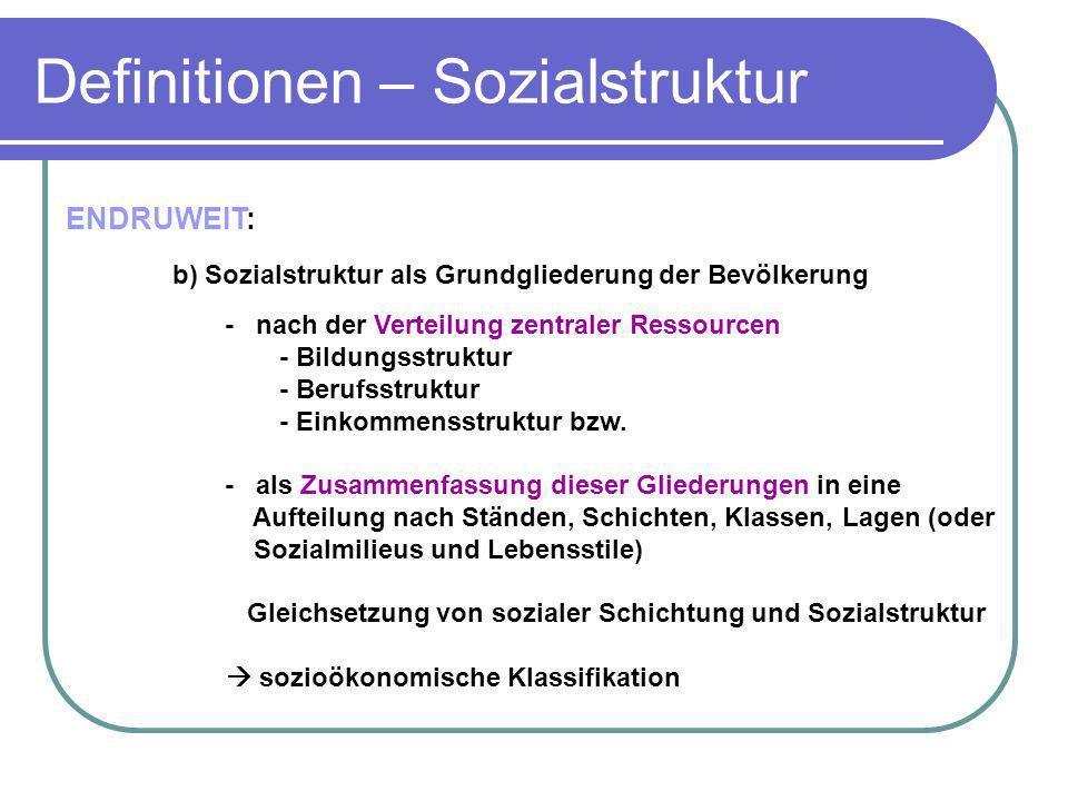 ENDRUWEIT: b) Sozialstruktur als Grundgliederung der Bevölkerung - nach der Verteilung zentraler Ressourcen - Bildungsstruktur - Berufsstruktur - Eink