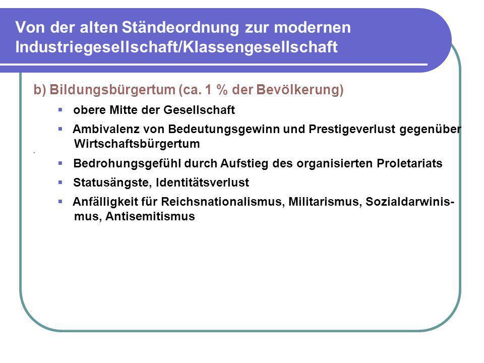 Von der alten Ständeordnung zur modernen Industriegesellschaft/Klassengesellschaft b) Bildungsbürgertum (ca. 1 % der Bevölkerung) obere Mitte der Gese