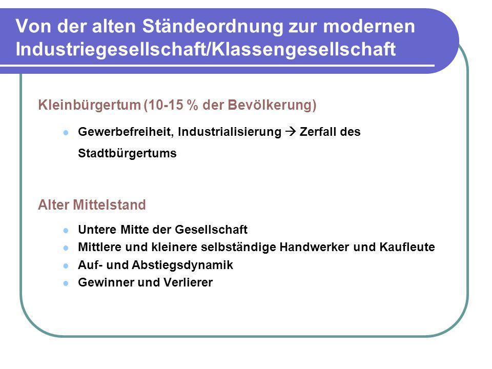 Von der alten Ständeordnung zur modernen Industriegesellschaft/Klassengesellschaft Kleinbürgertum (10-15 % der Bevölkerung) Gewerbefreiheit, Industria