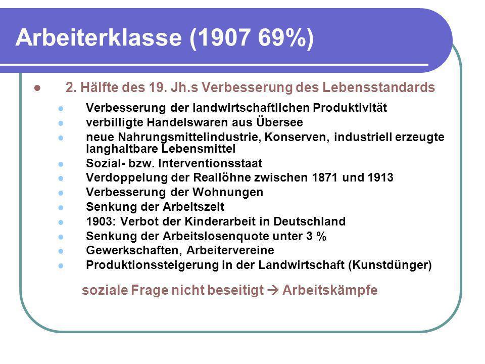 Arbeiterklasse (1907 69%) 2. Hälfte des 19. Jh.s Verbesserung des Lebensstandards Verbesserung der landwirtschaftlichen Produktivität verbilligte Hand