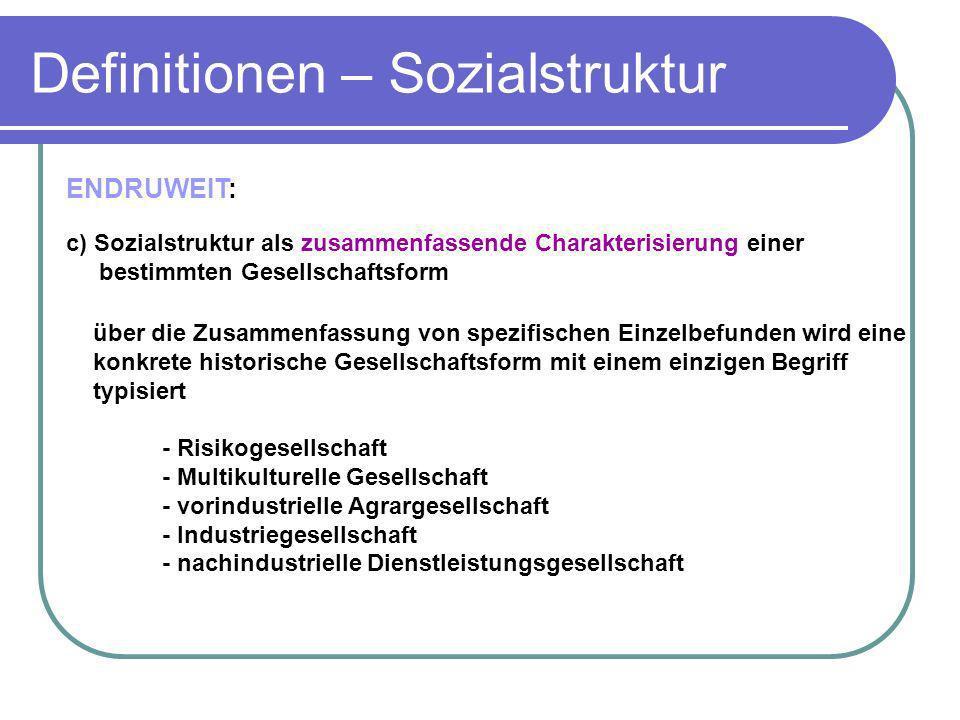 ENDRUWEIT: c) Sozialstruktur als zusammenfassende Charakterisierung einer bestimmten Gesellschaftsform über die Zusammenfassung von spezifischen Einze