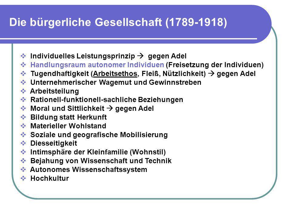 Die bürgerliche Gesellschaft (1789-1918) Individuelles Leistungsprinzip gegen Adel Handlungsraum autonomer Individuen (Freisetzung der Individuen) Tug