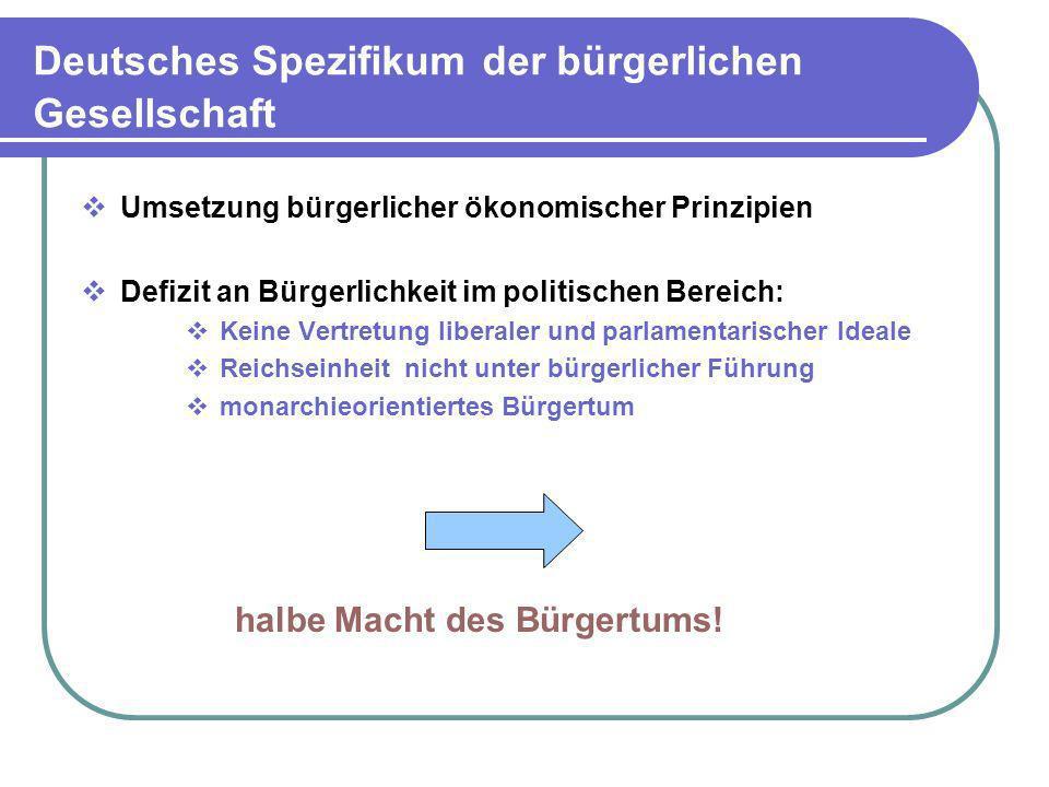 Deutsches Spezifikum der bürgerlichen Gesellschaft Umsetzung bürgerlicher ökonomischer Prinzipien Defizit an Bürgerlichkeit im politischen Bereich: Ke