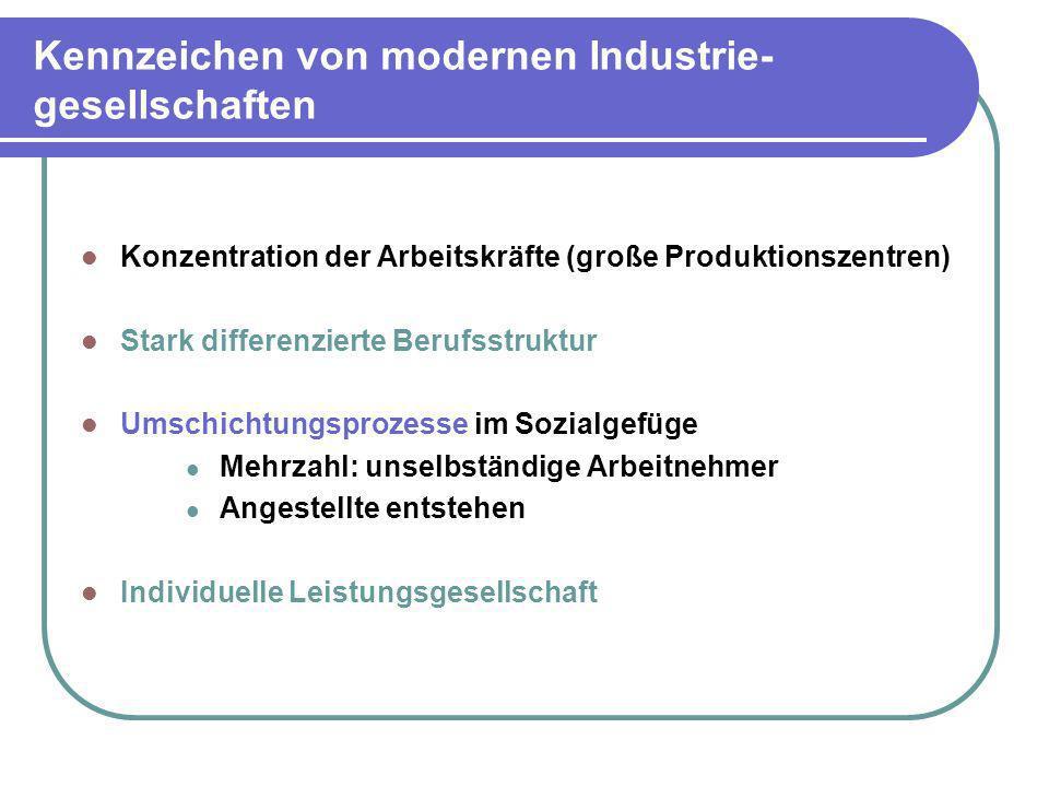 Kennzeichen von modernen Industrie- gesellschaften Konzentration der Arbeitskräfte (große Produktionszentren) Stark differenzierte Berufsstruktur Umsc