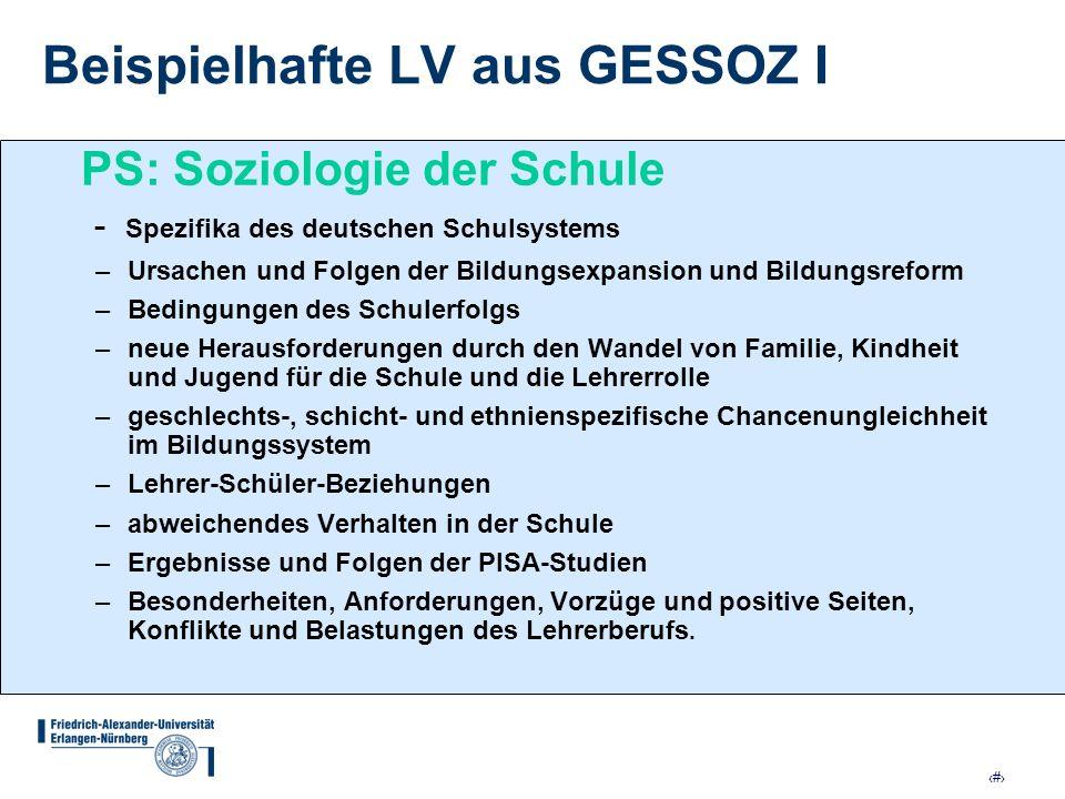 13 Beispielhafte LV aus GESSOZ I PS: Soziologie der Schule - Spezifika des deutschen Schulsystems –Ursachen und Folgen der Bildungsexpansion und Bildu