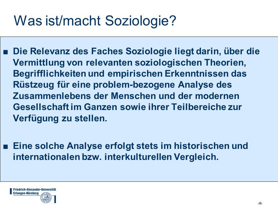 9 Was ist/macht Soziologie? Die Relevanz des Faches Soziologie liegt darin, über die Vermittlung von relevanten soziologischen Theorien, Begrifflichke