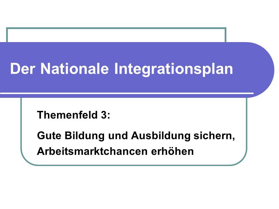 Der Nationale Integrationsplan Themenfeld 3: Gute Bildung und Ausbildung sichern, Arbeitsmarktchancen erhöhen
