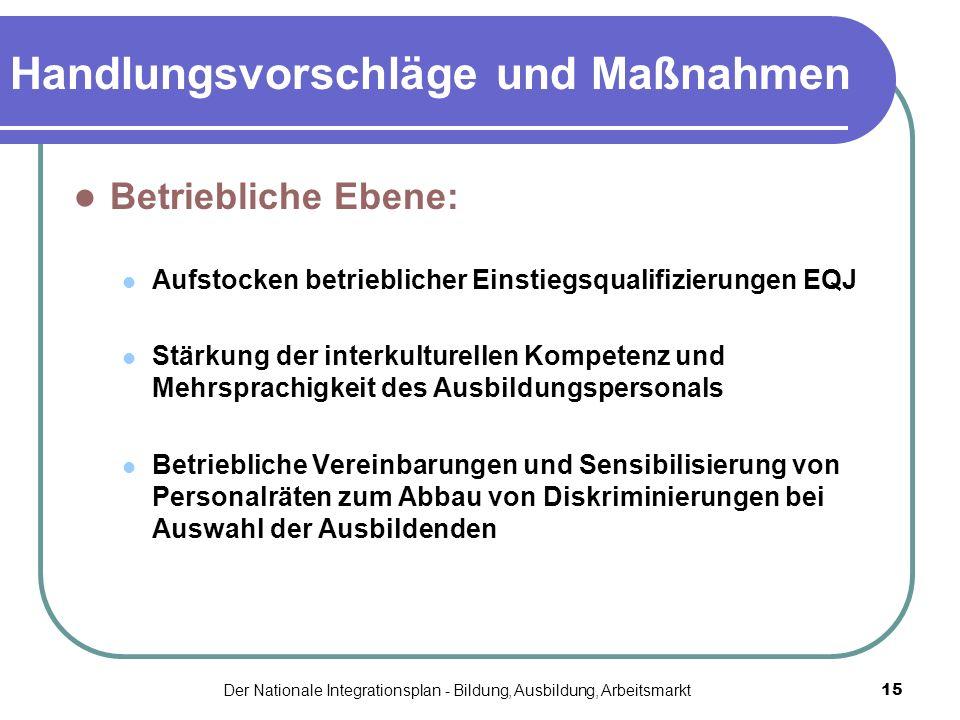 Der Nationale Integrationsplan - Bildung, Ausbildung, Arbeitsmarkt15 Handlungsvorschläge und Maßnahmen Betriebliche Ebene: Aufstocken betrieblicher Ei