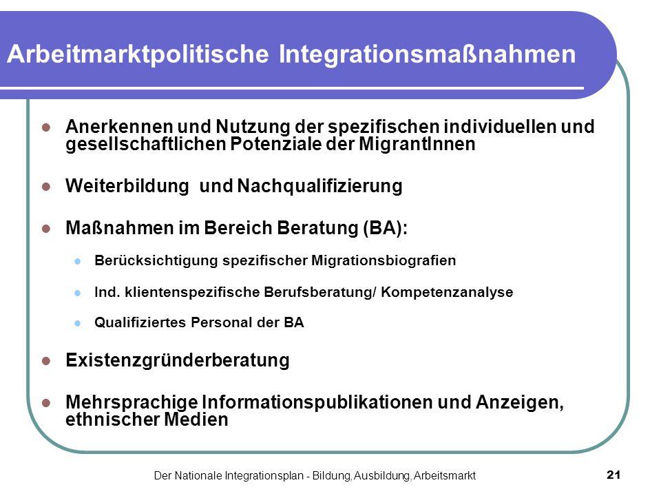 Der Nationale Integrationsplan - Bildung, Ausbildung, Arbeitsmarkt21 Arbeitmarktpolitische Integrationsmaßnahmen Anerkennen und Nutzung der spezifisch