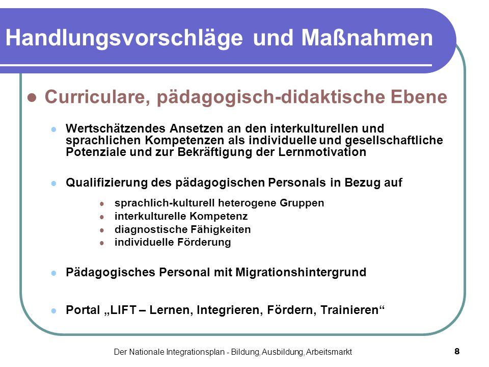 Der Nationale Integrationsplan - Bildung, Ausbildung, Arbeitsmarkt8 Handlungsvorschläge und Maßnahmen Curriculare, pädagogisch-didaktische Ebene Werts