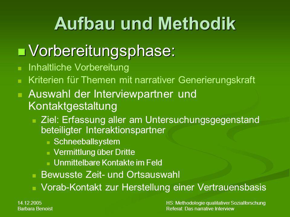 14.12.2005 Barbara Benoist HS: Methodologie qualitativer Sozialforschung Referat: Das narrative Interview Aufbau und Methodik Vorbereitungsphase: Vorb