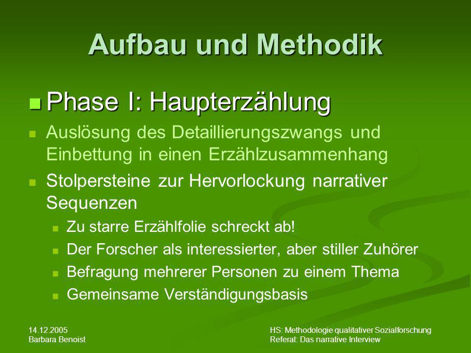 14.12.2005 Barbara Benoist HS: Methodologie qualitativer Sozialforschung Referat: Das narrative Interview Aufbau und Methodik Phase I: Haupterzählung