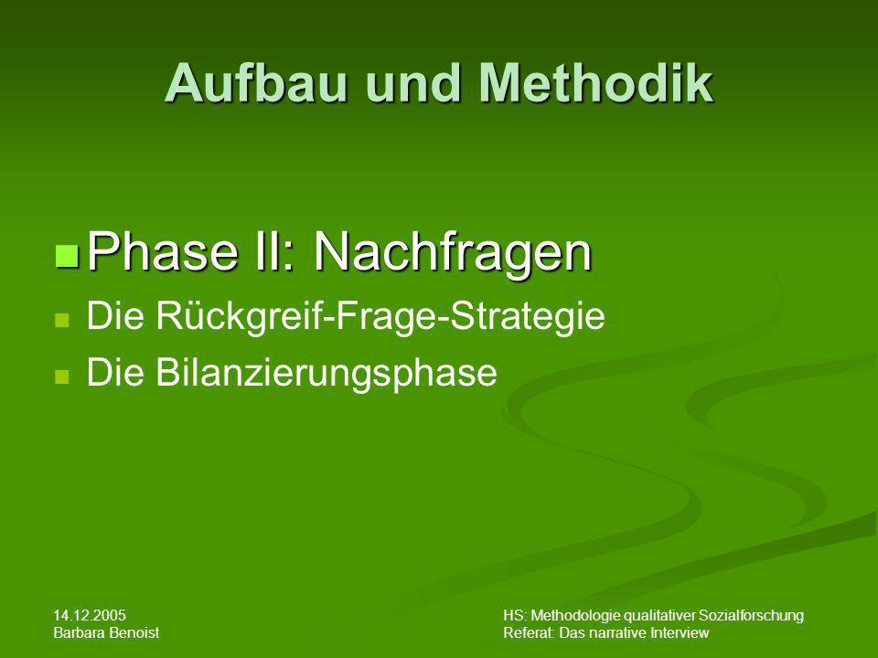 14.12.2005 Barbara Benoist HS: Methodologie qualitativer Sozialforschung Referat: Das narrative Interview Aufbau und Methodik Phase II: Nachfragen Pha