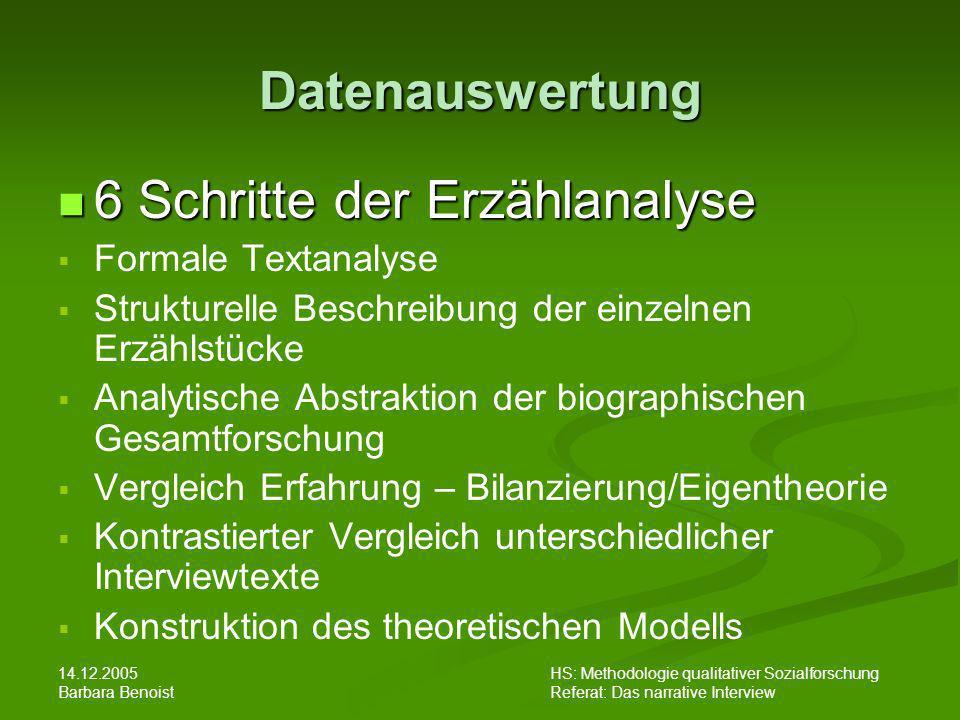 14.12.2005 Barbara Benoist HS: Methodologie qualitativer Sozialforschung Referat: Das narrative Interview 6 Schritte der Erzählanalyse 6 Schritte der