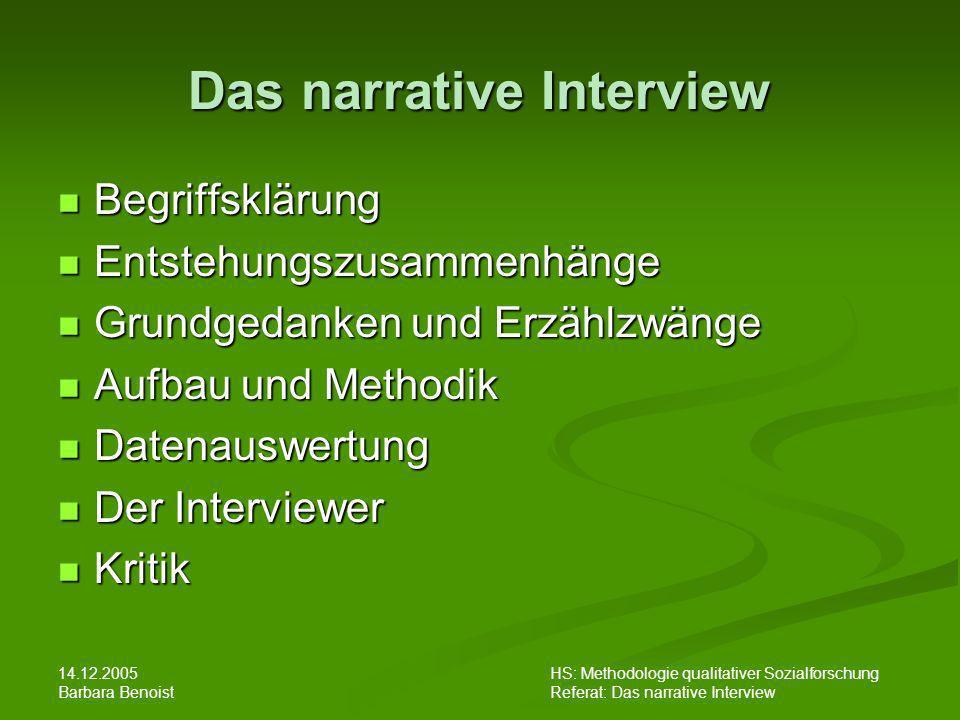 14.12.2005 Barbara Benoist HS: Methodologie qualitativer Sozialforschung Referat: Das narrative Interview Das narrative Interview - eine elaborierte Forschungsmethode .