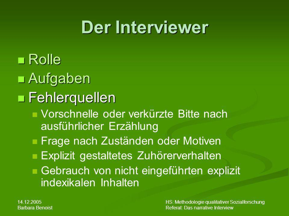 14.12.2005 Barbara Benoist HS: Methodologie qualitativer Sozialforschung Referat: Das narrative Interview Der Interviewer Rolle Rolle Aufgaben Aufgabe