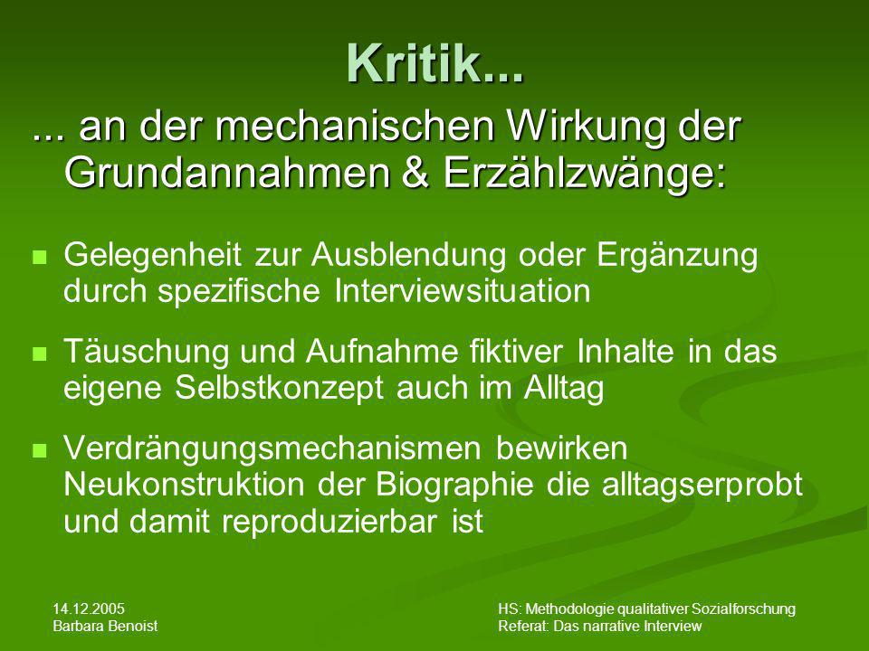 14.12.2005 Barbara Benoist HS: Methodologie qualitativer Sozialforschung Referat: Das narrative Interview Kritik...... an der mechanischen Wirkung der
