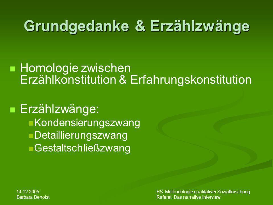 14.12.2005 Barbara Benoist HS: Methodologie qualitativer Sozialforschung Referat: Das narrative Interview Kritik......