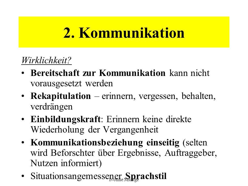 Ivonne Miosge 2. Kommunikation Wirklichkeit? Bereitschaft zur Kommunikation kann nicht vorausgesetzt werden Rekapitulation – erinnern, vergessen, beha