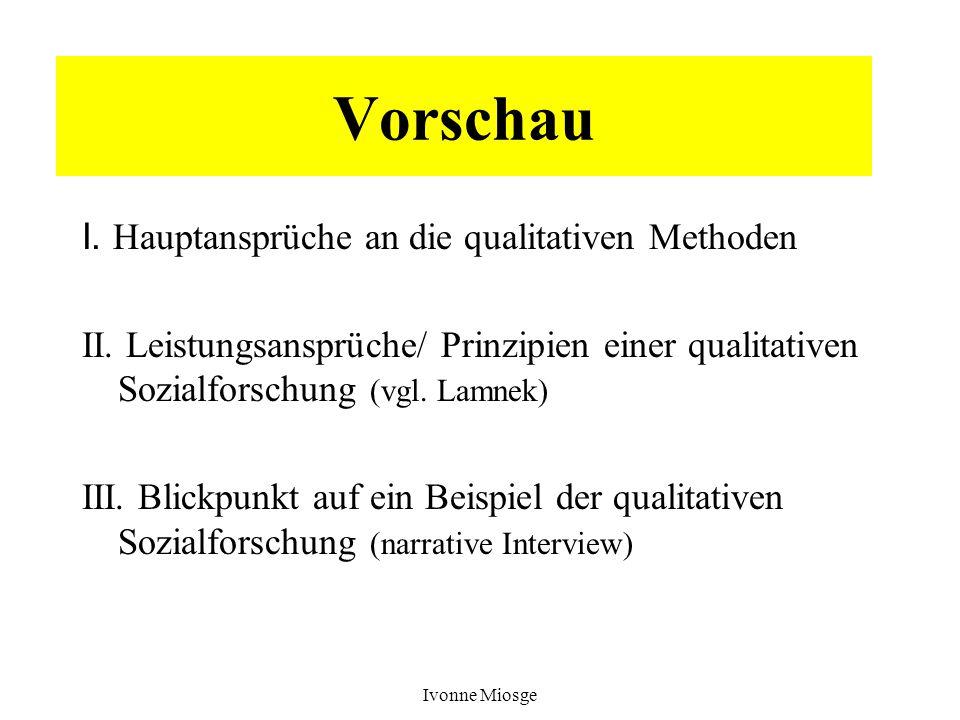 Ivonne Miosge Vorschau I. Hauptansprüche an die qualitativen Methoden II. Leistungsansprüche/ Prinzipien einer qualitativen Sozialforschung (vgl. Lamn