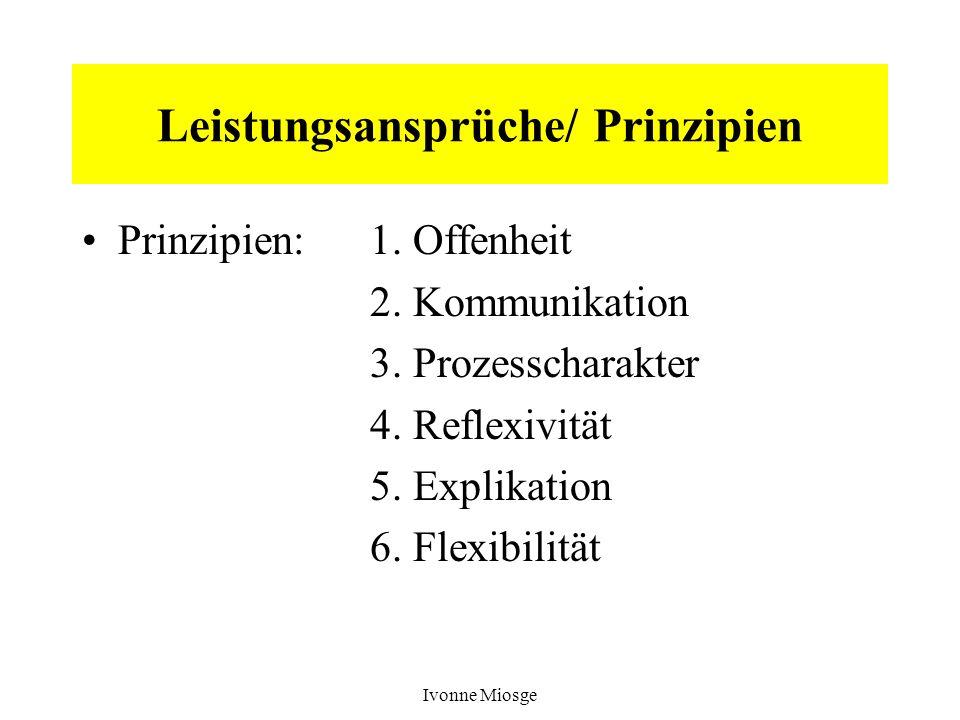 Ivonne Miosge Leistungsansprüche/ Prinzipien Prinzipien:1. Offenheit 2. Kommunikation 3. Prozesscharakter 4. Reflexivität 5. Explikation 6. Flexibilit