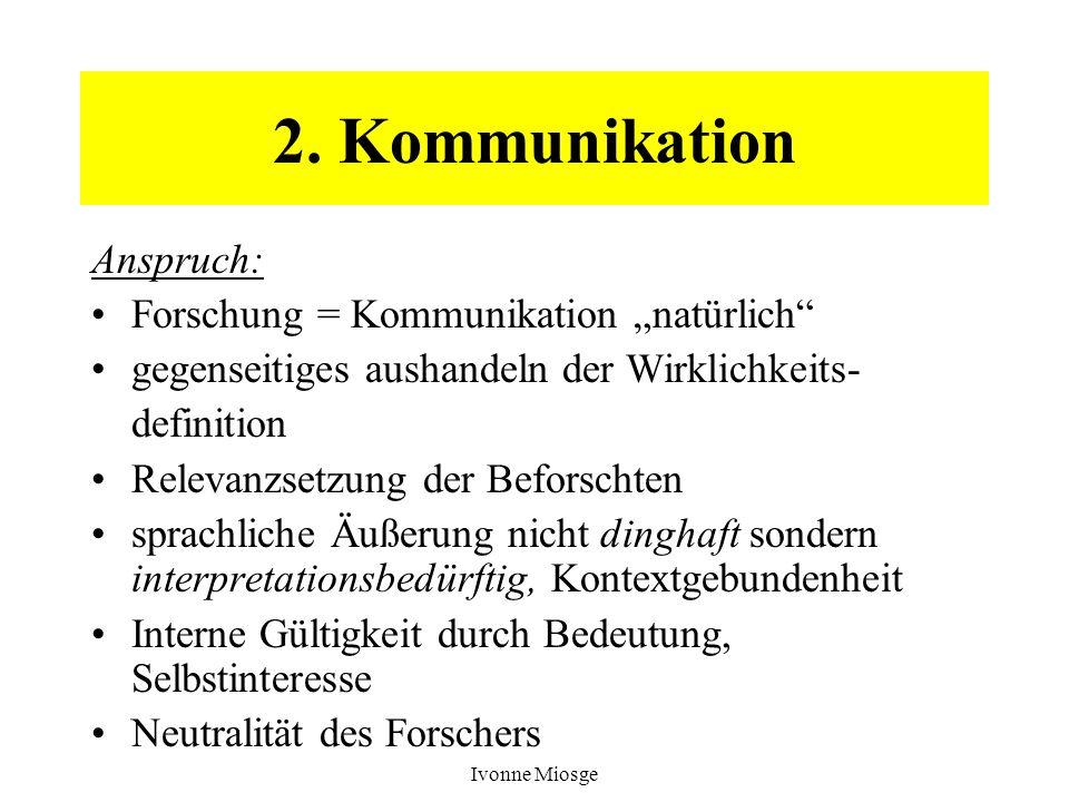 Ivonne Miosge 2. Kommunikation Anspruch: Forschung = Kommunikation natürlich gegenseitiges aushandeln der Wirklichkeits- definition Relevanzsetzung de