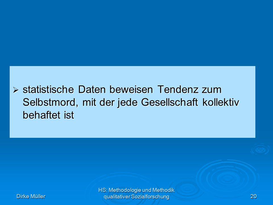 Dirke Müller HS: Methodologie und Methodik qualitativer Sozialforschung20 statistische Daten beweisen Tendenz zum Selbstmord, mit der jede Gesellschaft kollektiv behaftet ist statistische Daten beweisen Tendenz zum Selbstmord, mit der jede Gesellschaft kollektiv behaftet ist