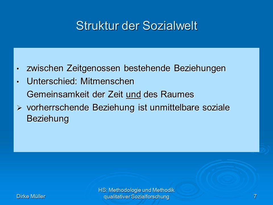 Dirke Müller HS: Methodologie und Methodik qualitativer Sozialforschung8 Muster sozialen Handelns Unterscheidung zwischen zwei Motiven 1.Um-zu-Motiv: bezeichnet den Zweck der durch dieses Handeln hervorgebracht werden soll 2.Weil-Motiv verweist vom Standpunkt des Handelnden auf vergangen Erfahrungen soziales Wirken: soziales Wirken: Um-zu-Motive des Handelnden werden zu Weil-Motiven seines Partners und umgekehrt