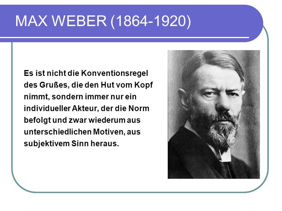 MAX WEBER (1864-1920) Es ist nicht die Konventionsregel des Grußes, die den Hut vom Kopf nimmt, sondern immer nur ein individueller Akteur, der die Norm befolgt und zwar wiederum aus unterschiedlichen Motiven, aus subjektivem Sinn heraus.