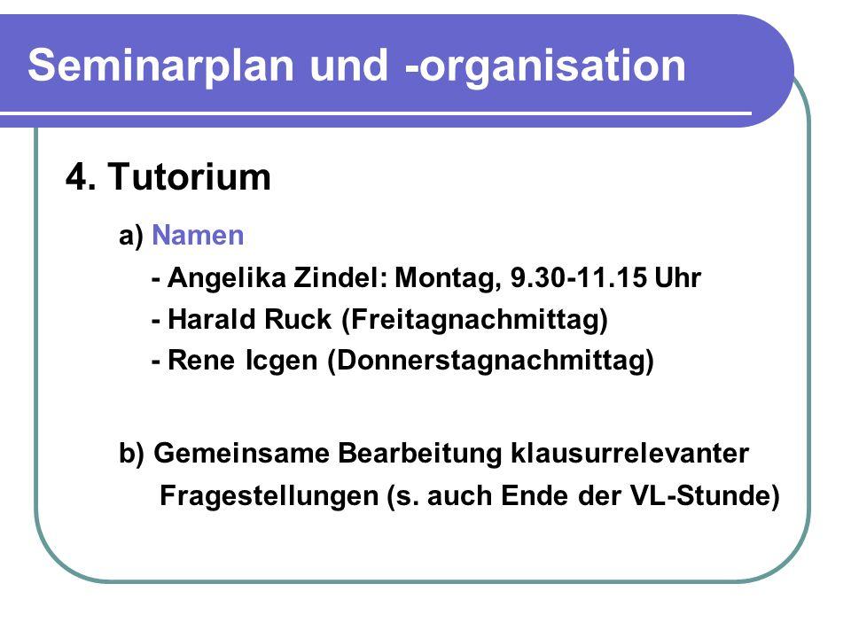 Seminarplan und -organisation 4.