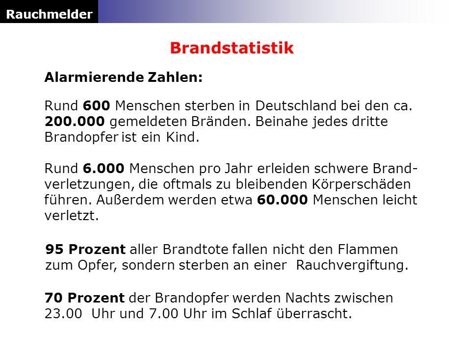 Alarmierende Zahlen: Rauchmelder Brandstatistik Rund 600 Menschen sterben in Deutschland bei den ca. 200.000 gemeldeten Bränden. Beinahe jedes dritte