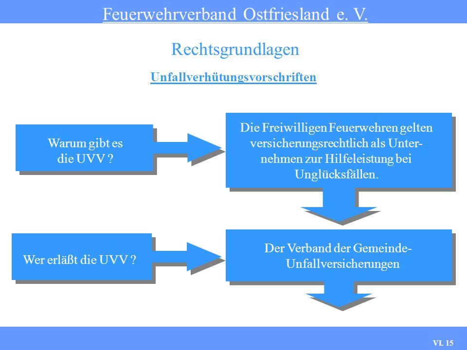 VI. 14 Unfallverhütungsvorschriften Feuerwehrverband Ostfriesland e. V. Rechtsgrundlagen 1. Geltungsbereich §1Geltungsbereich 2. Begriffsbestimmungen