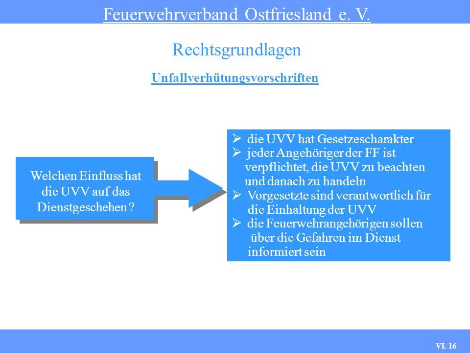 VI. 15 Unfallverhütungsvorschriften Feuerwehrverband Ostfriesland e. V. Rechtsgrundlagen Der Verband der Gemeinde- Unfallversicherungen Die Freiwillig