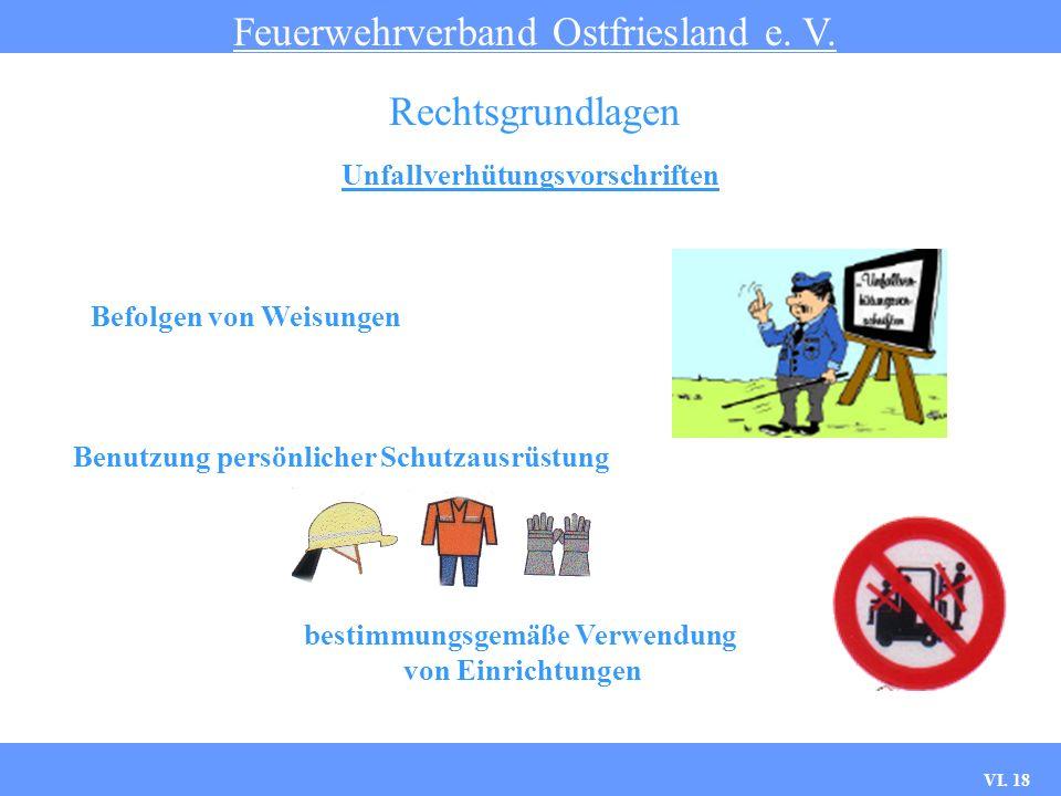 VI. 17 Unfallverhütungsvorschriften Feuerwehrverband Ostfriesland e. V. Rechtsgrundlagen Welchen Einfluss hat die UVV auf das Dienstgeschehen ?