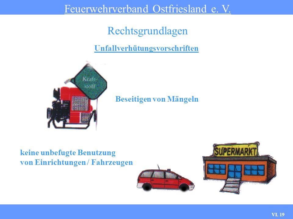 VI. 18 Unfallverhütungsvorschriften Feuerwehrverband Ostfriesland e. V. Rechtsgrundlagen Befolgen von Weisungen Benutzung persönlicher Schutzausrüstun