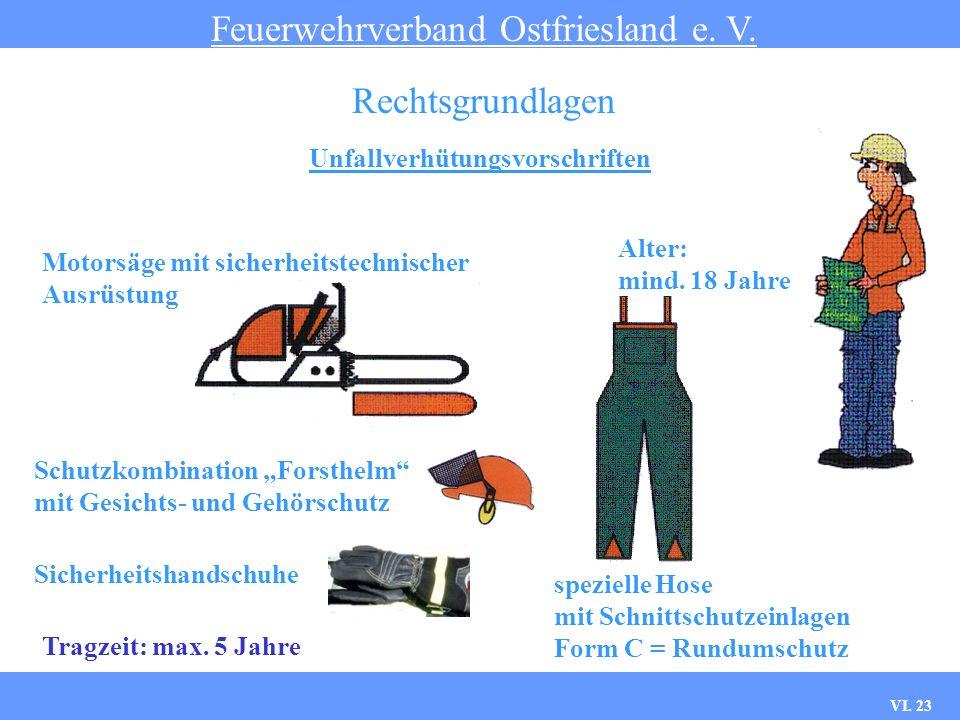 VI. 22 Unfallverhütungsvorschriften Feuerwehrverband Ostfriesland e. V. Rechtsgrundlagen § 35: Fahrzeugführer; hier: Fahrer, bzw. Maschinist Anforderu