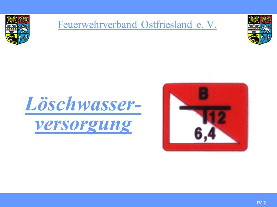 Feuerwehrverband Ostfriesland e. V. IV. 2 Löschwasser- versorgung