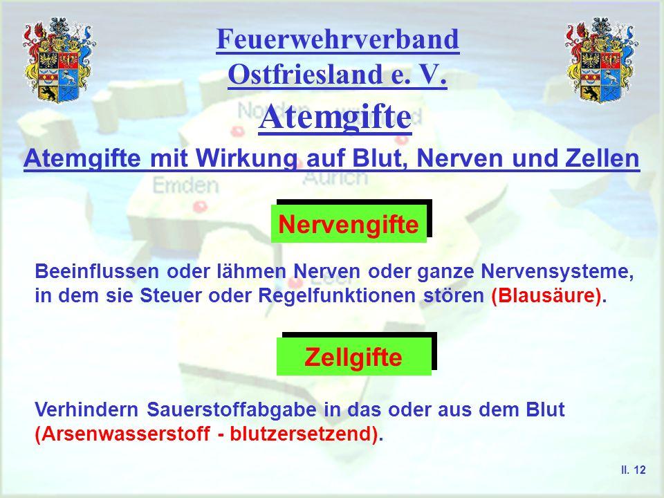 Feuerwehrverband Ostfriesland e. V. Atemgifte Atemgifte mit Wirkung auf Blut, Nerven und Zellen Nervengifte Beeinflussen oder lähmen Nerven oder ganze