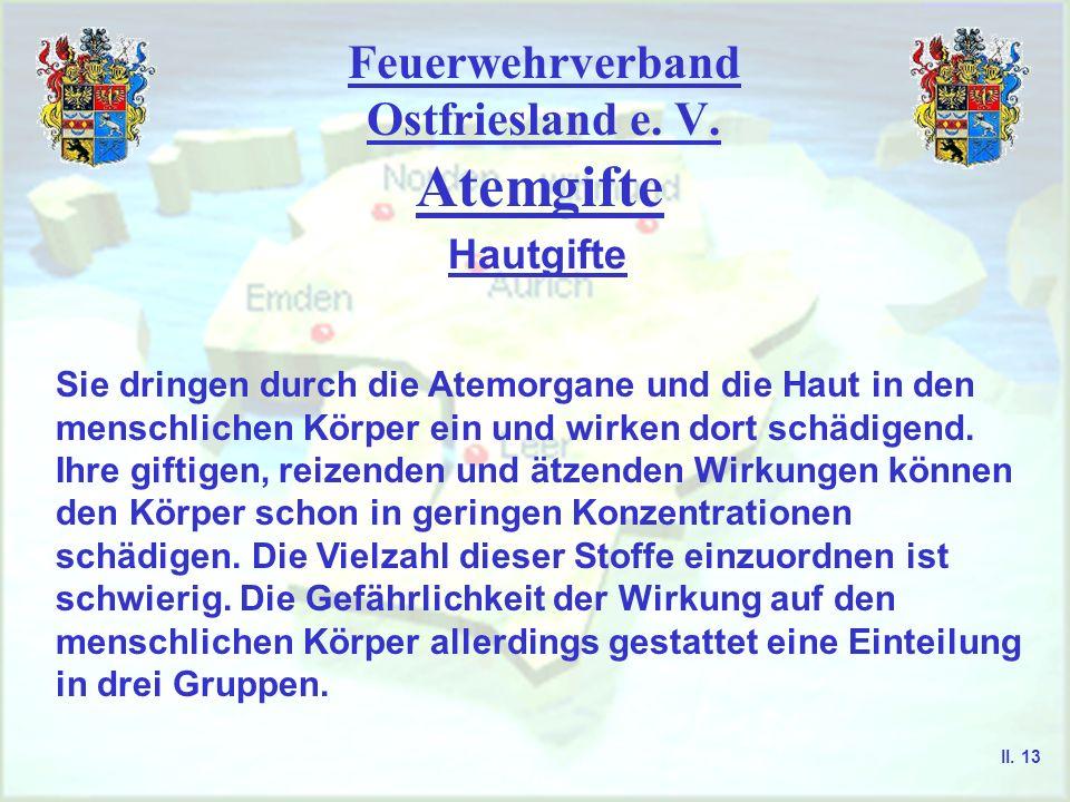 Feuerwehrverband Ostfriesland e. V. Atemgifte Hautgifte Sie dringen durch die Atemorgane und die Haut in den menschlichen Körper ein und wirken dort s