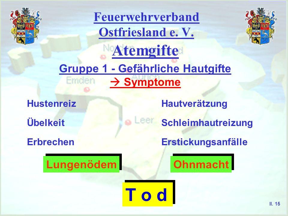 Feuerwehrverband Ostfriesland e. V. Atemgifte Gruppe 1 - Gefährliche Hautgifte Symptome HautverätzungHustenreiz Erbrechen ÜbelkeitSchleimhautreizung E