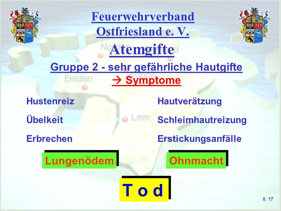 Feuerwehrverband Ostfriesland e. V. Atemgifte Gruppe 2 - sehr gefährliche Hautgifte Symptome HautverätzungHustenreiz Erbrechen ÜbelkeitSchleimhautreiz