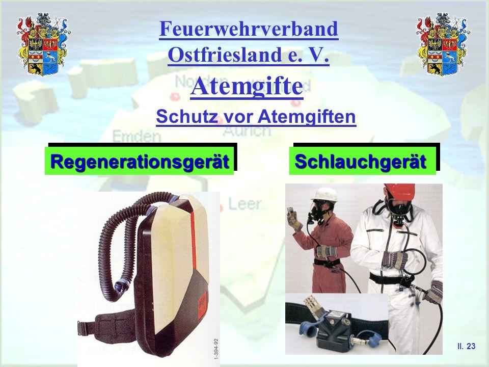 Feuerwehrverband Ostfriesland e. V. Atemgifte Schutz vor Atemgiften RegenerationsgerätRegenerationsgerätSchlauchgerätSchlauchgerät II. 23