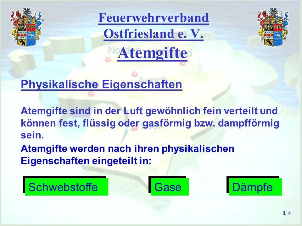 Feuerwehrverband Ostfriesland e. V. Atemgifte Physikalische Eigenschaften Atemgifte sind in der Luft gewöhnlich fein verteilt und können fest, flüssig