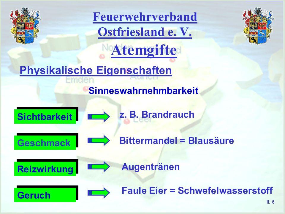 Feuerwehrverband Ostfriesland e. V. Atemgifte Physikalische Eigenschaften Sinneswahrnehmbarkeit Sichtbarkeit Geschmack Geruch Reizwirkung z. B. Brandr